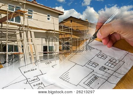 Ready-to-Use construction, architecture, drawing, under-construction, building montage of images