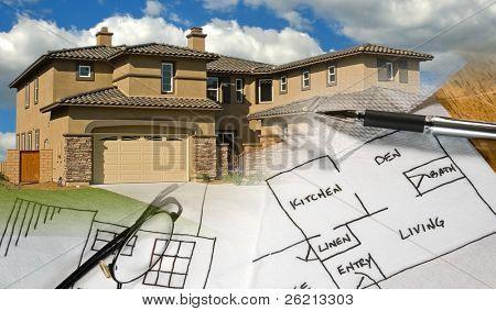 Ready-to-Use Bau, Architektur, zeichnen, Unterkonstruktion, Montage von Bildern erstellen