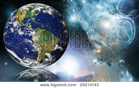 Globe  (NASA - Visible Earth) reflected into Space