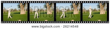 A sequence filmstrip of a golfer hitting a tee shot with a driver