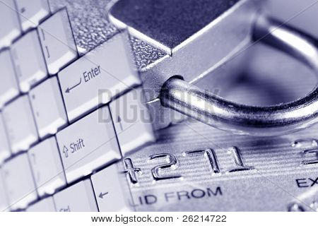 Close up of a credit or debit card for security background