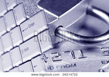 Nahaufnahme einer Kredit- oder Debit-Karte für Sicherheitsuntergrund.