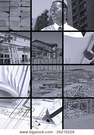 Collection and collage of in progress construction scenes