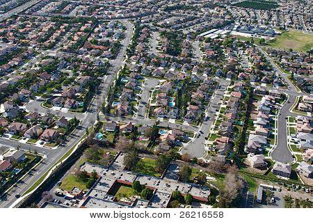 Aerial view of suburban sprawl and neighborhoods