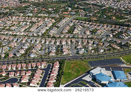 Aerial view of suburban sprawl and neighborhoods