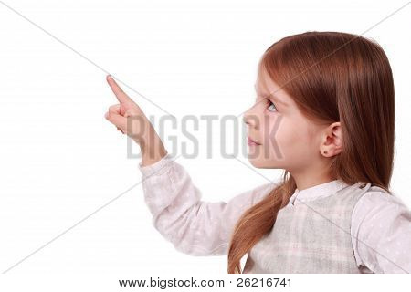 A young girl pointing at your text