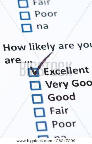 A survey questionnaire for customer satisfaction with checkboxes