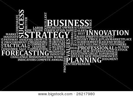 Business buzz words scrambled up for a background