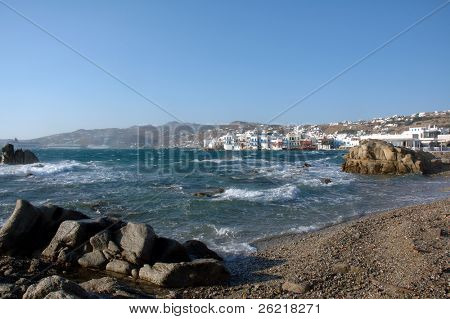 """Little Venice"" from the shore line on the greek island of Mykonos"