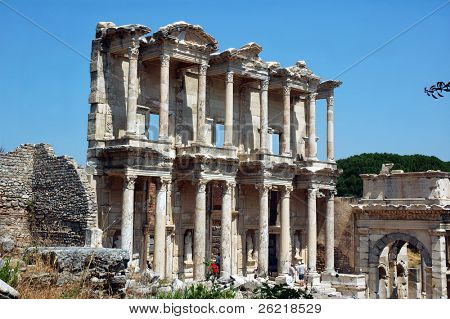 The library of Celsus at ancient Roman city of Ephesus in Turkey