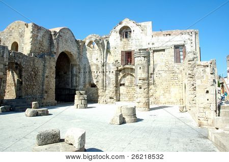 Ruins of the temple of the knights of St. John on the Greek island of Rhodes