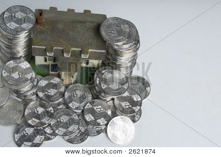 Pile Of Coins Top View - House Series