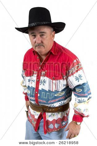 Old cowboy staring down opponent ready to draw revolver on a white background