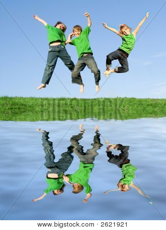 Happy Kids Jumping For Joy