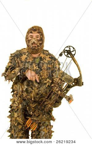 Archery hunter dressed in real leaf 3D camouflage