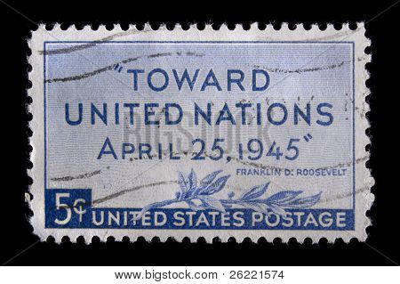 UNITED STATES - CIRCA 1945: Depicting words of FDR, with inscription