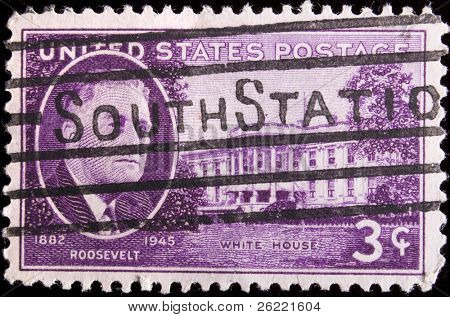 "UNITED STATES - CIRCA 1945: Depicting inset of Roosevelt and building, with inscription ""White House"" and ""1882 Roosevelt 1945"", color magenta, face value 3 cents, circa 1945"