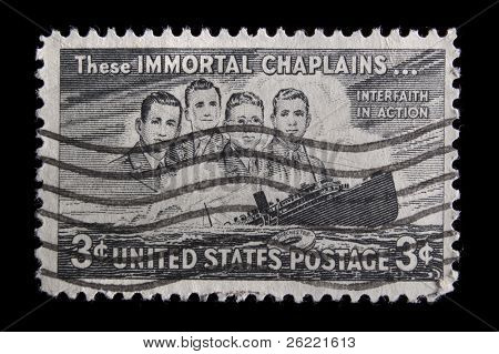 """UNITED STATES - CIRCA 1947: depicting SS Dorchester sinking, inscripted """"These Immortal Chaplains..."""" & """"Interfaith in Action"""", face value 3 cents, color black, circa 1947"""