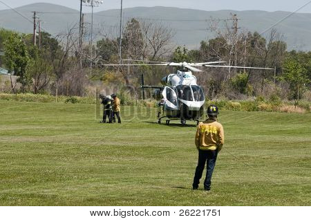 LIVERMORE, CA - MAY 1: Woman thrown by horse, needing medical attention is medivac-ed out by chopper after being treated by paramedics May 1, 2008 in Livermore, CA
