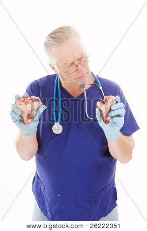 Surgeon holding heart ready for transplant
