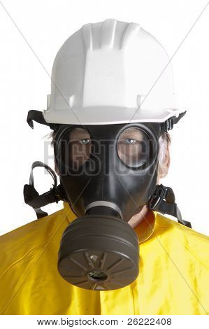 closeup of  a worker in gas mask, helmet and hazmat suit
