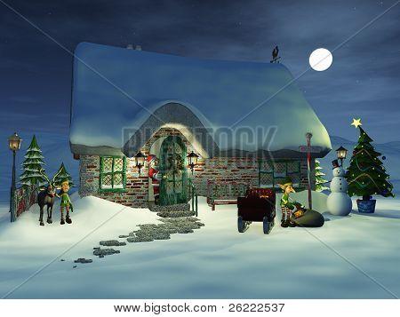 Toon Santa Watching His Elves.