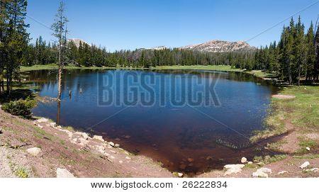 panorama of small lake in Utah above Park city, Utah, USA