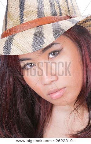 pretty asian girl with acne, wearing contact lenses in camouflage straw hat