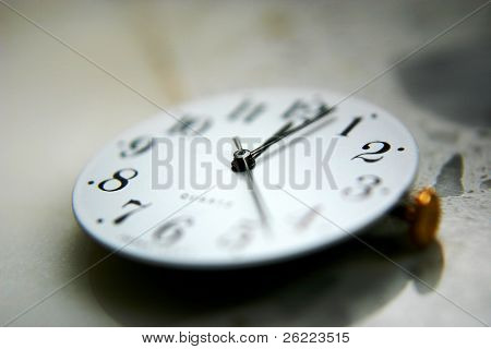 white clock with black hands