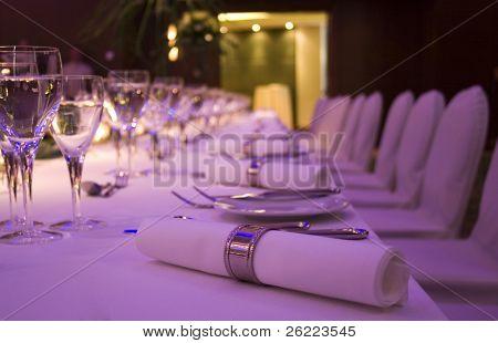 table set for elegant banquet