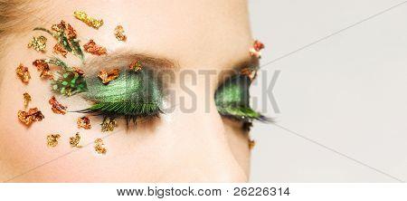 beautiful green very decorative make-up
