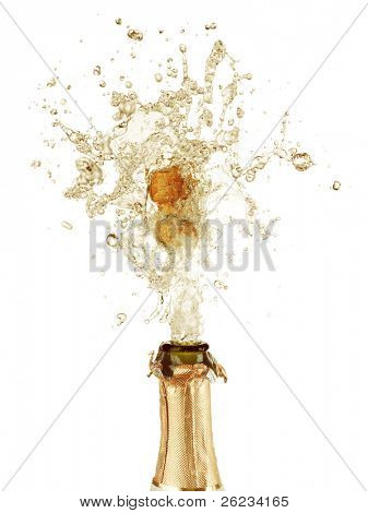 close up of Explosion Flasche Champagner-Korken
