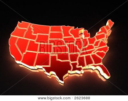 Mapa de Estados Unidos. 3D