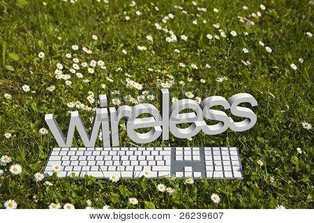 Wireless text and modern keyboard on green grass in garden