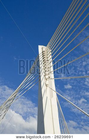 Abstract detail of Millennium bridge, Modern arhitectural construction on river Moraca, Podgorica, Capital city of Montenegro