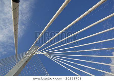 Abstract detail of Millennium bridge, Modern arhitectural construction on river Moraca, Podgorica, Capital city of Montenegro