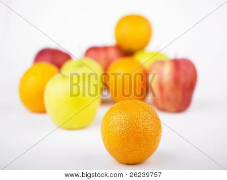 One Orange Inf Focus and Fruit mix blurred