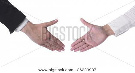 Hand Ready For Handshaking isolated on white background