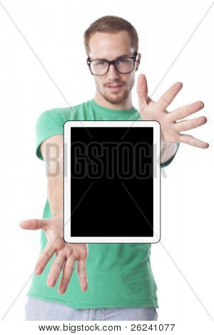 Good Looking Young Nerd Smart Guy Man Using Tablet Computer
