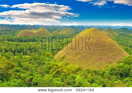 Chocolate hills panorama, Bohol island, Philippines
