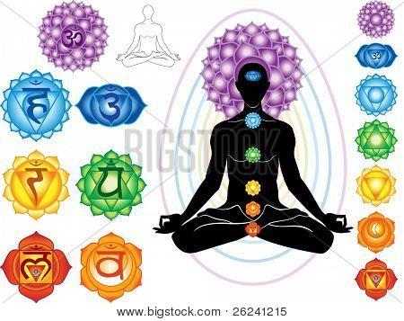 Silueta de hombre con símbolos de chakra