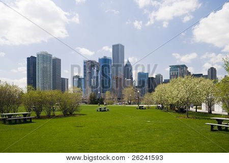 Chicago skyline, view from the shore of Lake Michigan
