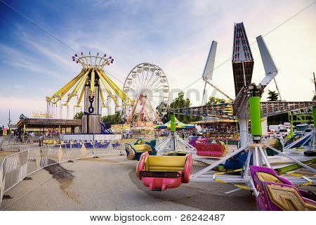 Indianapolis, IN - August 5: Indiana state fair ground are prepared for opening on August 6.