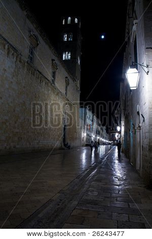 Main street of Dubrovnik at night