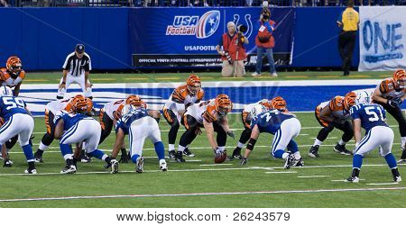 INDIANAPOLIS, IN - SEPT 2: Bengals and Colts line-up during football game between Indianapolis Colts and Cincinnati Bengals on September 2, 2010 in Indianapolis, IN