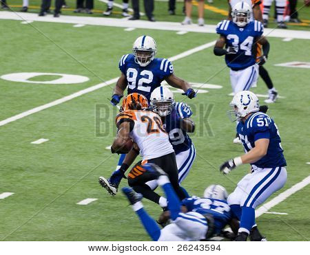 INDIANAPOLIS, IN - SEPT 2: Intercept during football game between Indianapolis Colts and Cincinnati Bengals on September 2, 2010 in Indianapolis, IN