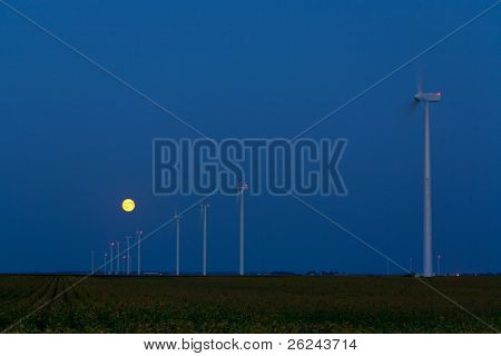 Moonrise over a wind farm
