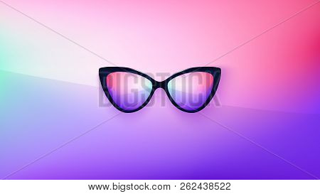 poster of Sunglasses wallpaper. Trendy colors. Fashion background. Summer. Holographic. Rim. Eyeglasses. Party
