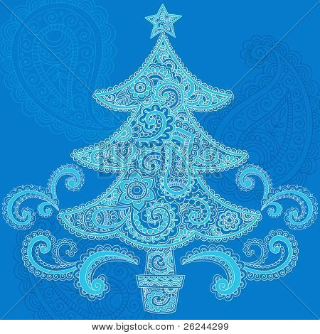 Christmas Tree Hand-Drawn in Abstract Henna Paisley Doodle Style- Vector Illustration Design Elements
