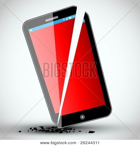 Broken mobile phone - Vector Illustration - EPS10 Design